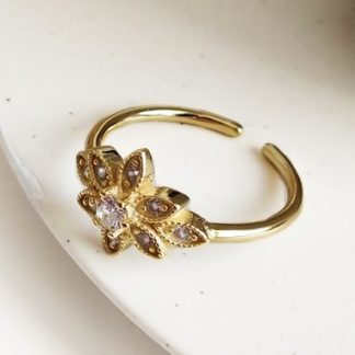 Anillo Shiny flower Gold