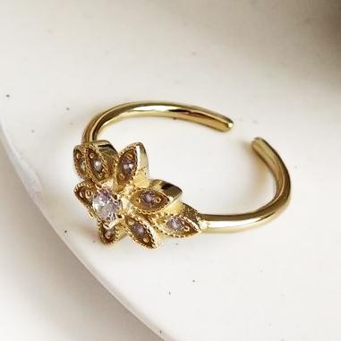 Anillo Shiny flower Gold