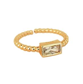 Anillo Squared Zirconia Gold