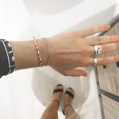 Pulsera Irregular line_twisted SILVER