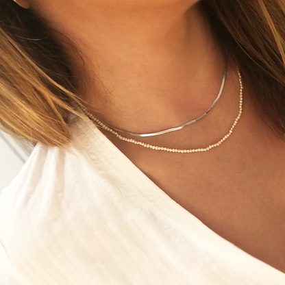 Collar Pearls thin Herringbone